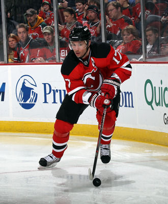 NEWARK, NJ - APRIL 06:  Ilya Kovalchuk #17 of the New Jersey Devils skates against the Toronto Maple Leafs at the Prudential Center on April 6, 2011 in Newark, New Jersey.  (Photo by Bruce Bennett/Getty Images)