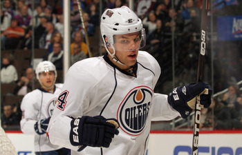DENVER, CO - FEBRUARY 23:  Taylor Hall #4 of the Edmonton Oilers celebrates his second period goal against the Colorado Avalanche at the Pepsi Center on February 23, 2011 in Denver, Colorado.  (Photo by Doug Pensinger/Getty Images)