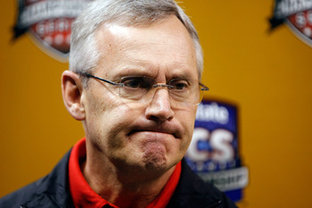 NEW ORLEANS - JANUARY 05:  Head coach Jim Tressel answers questions during the Ohio State Buckeyes media day on January 5, 2008 at the Louisiana Superdome in New Orleans, Louisiana.  Ohio State will play Louisiana State University in the BCS Championship