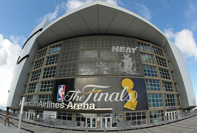 MIAMI, FL - MAY 30:  An exterior view of the American Airlines Arena before the start Game 1 of the 2011 NBA Finals between the Miami Heat and the Dallas Mavericks on May 30, 2011 in Miami, Florida.  NOTE TO USER: User expressly acknowledges and agrees th