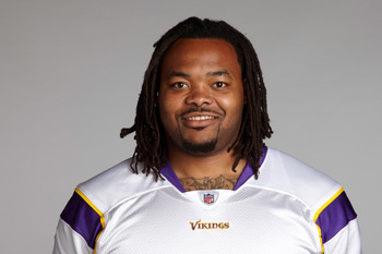 EDEN PRAIRIE, MN - CIRCA 2010:  In this handout image provided by the NFL,  Phil Loadholt poses for his 2010 NFL headshot circa 2010 in Eden Prairie, Minnesota.   (Photo by NFL via Getty Images)