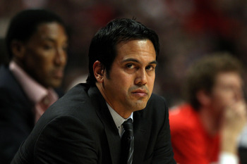 CHICAGO, IL - MAY 18:  Head coach Erik Spoelstra of the Miami Heat looks on against the Chicago Bulls in Game Two of the Eastern Conference Finals during the 2011 NBA Playoffs on May 18, 2011 at the United Center in Chicago, Illinois. NOTE TO USER: User e