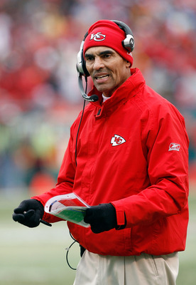 KANSAS CITY, MO - DECEMBER 14:  Head Coach Herm Edwards of the Kansas City Chiefs challenges a call against the San Diego Chargers during the first half on December 14, 2008 at Arrowhead Stadium in Kansas City, Missouri.  (Photo by Harry How/Getty Images)
