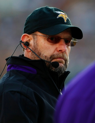 GREEN BAY, WI - NOVEMBER 01:  Head coach Brad Childress of the Minnesota Vikings is seen on the sidelines during the first quarter of the game against the Green Bay Packers at Lambeau Field on November 1, 2009 in Green Bay, Wisconsin. (Photo by Scott Boeh