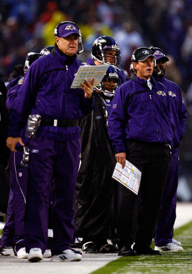BALTIMORE - DECEMBER 30:  Offensive coordinator Rick Neuheisel of the Baltimore Ravens watches the action alongside head coach Brian Billick during the game against the Pittsburgh Steelers at M&T Bank Stadium December 30, 2007 in Baltimore, Maryland.  (Ph