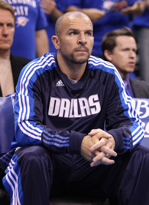 OKLAHOMA CITY, OK - MAY 23:  Jason Kidd #2 of the Dallas Mavericks sits on the bench before taking on the Oklahoma City Thunder in Game Four of the Western Conference Finals during the 2011 NBA Playoffs at Oklahoma City Arena on May 23, 2011 in Oklahoma C