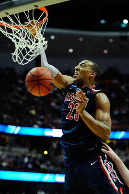 ANAHEIM, CA - MARCH 24:  Derrick Williams #23 of the Arizona Wildcats dunks the ball against the Duke Blue Devils during the west regional semifinal of the 2011 NCAA men's basketball tournament at the Honda Center on March 24, 2011 in Anaheim, California.