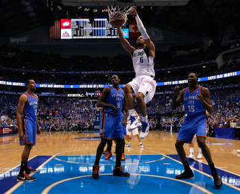 DALLAS, TX - MAY 17:  Tyson Chandler #6 of the Dallas Mavericks dunks the ball in the first half in front of Serge Ibaka #9 of the Oklahoma City Thunder in Game One of the Western Conference Finals during the 2011 NBA Playoffs at American Airlines Center