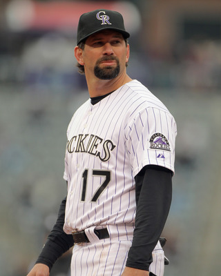 DENVER, CO - APRIL 06:  First baseman Todd Helton #17 of the Colorado Rockies plays defense against the Los Angeles Dodgers at Coors Field on April 6, 2011 in Denver, Colorado.  (Photo by Doug Pensinger/Getty Images)