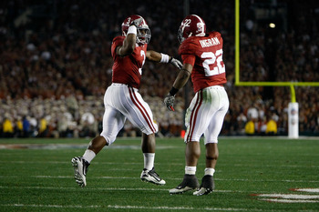 PASADENA, CA - JANUARY 07:  Running back Trent Richardson #3 of the Alabama Crimson Tide celebrates with Mark Ingram #22 after Richardson  runs for a 49-yard touchdown against the Texas Longhorns in the second quarter of the Citi BCS National Championship