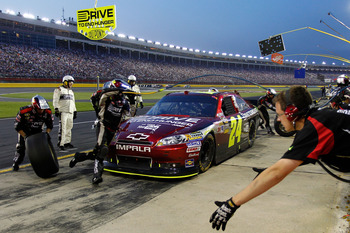 CONCORD, NC - MAY 29: Jeff Gordon, driver of the #24 Drive to End Hunger Chevrolet, pits during the NASCAR Sprint Cup Series Coca-Cola 600 at Charlotte Motor Speedway on May 29, 2011 in Concord, North Carolina.  (Photo by Geoff Burke/Getty Images for NASC