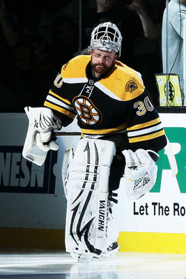 BOSTON, MA - MAY 27:  Tim Thomas #30 of the Boston Bruins leads his team onto the ice in Game Seven of the Eastern Conference Finals against the Tampa Bay Lightning during the 2011 NHL Stanley Cup Playoffs at TD Garden on May 27, 2011 in Boston, Massachus