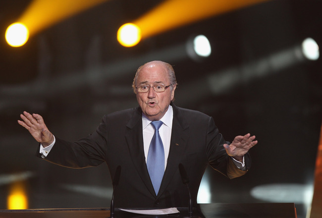 ZURICH, SWITZERLAND - JANUARY 10: Sepp Blatter President of Fifa speaks during the FIFA Ballon d'or Gala at the Zurich Kongresshaus on January 10, 2011 in Zurich, Switzerland.  (Photo by Michael Steele/Getty Images)