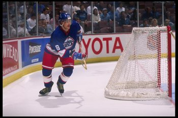 2 Oct 1996:  Right-winger Teemu Selanne of the Anaheim Mighty Ducks moves around the net during a game against the Winnipeg Jets played at Arrowhead Pond in Anaheim, California.  The Mighty Ducks won the game, 6-2. Mandatory Credit: Glenn Cratty  /Allsp