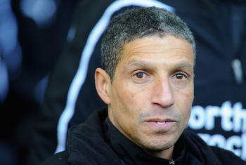 WEST BROMWICH, ENGLAND - DECEMBER 05:  Chris Hughton of Newcastle United looks on before the Barclays Premier League match between West Bromwich Albion and Newcastle United at The Hawthorns on December 5, 2010 in West Bromwich, England.  (Photo by Clive M