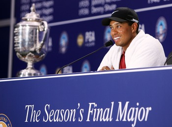 TULSA, OK - AUGUST 12:  Tiger Woods chats with the media after his two-stroke victory at the 89th PGA Championship at the Southern Hills Country Club on August 12, 2007 in Tulsa, Oklahoma.  (Photo by Jeff Gross/Getty Images)