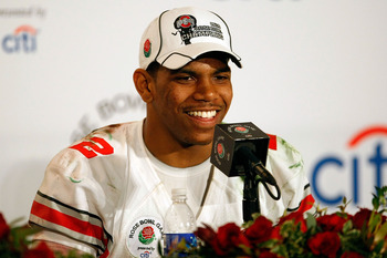 PASADENA, CA - JANUARY 01:  Quarterback Terrelle Pryor #2 of the Ohio State Buckeyes speaks during the post-game news conference after the buckeyes 26-17 win in the 96th Rose Bowl game over the Oregon Ducks on January 1, 2010 in Pasadena, California.  (Ph
