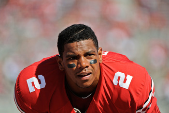 COLUMBUS, OH - SEPTEMBER 18:  Terrelle Pryor #2 of the Ohio State Buckeyes takes a breather during warm ups before a game against the Ohio Bobcats at Ohio Stadium on September 18, 2010 in Columbus, Ohio.  (Photo by Jamie Sabau/Getty Images)