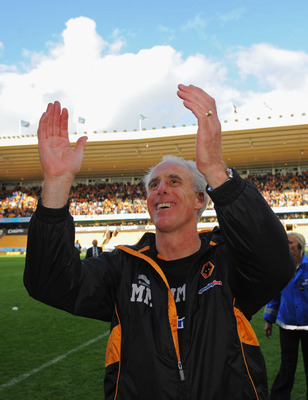 WOLVERHAMPTON, ENGLAND - MAY 22:  Wolves manager Mick McCarthy celebrates after the Barclays Premier League match between Wolverhampton Wanderers and Blackburn Rovers at Molineux on May 22, 2011 in Wolverhampton, England.  (Photo by Michael Regan/Getty Im