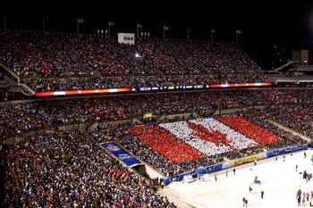 PITTSBURGH, PA - JANUARY 01:  A Canadian Flag is seen in the stands during the singing of the Canadian Anthem before the start of the 2011 NHL Bridgestone Winter Classic at Heinz Field on January 1, 2011 in Pittsburgh, Pennsylvania.  (Photo by Justin K. A