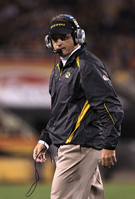 TEMPE, AZ - DECEMBER 28:  Head coach Gary Pinkel of the Missouri Tigers reacts on the sidelines during the Insight Bowl against the Iowa Hawkeyes at Sun Devil Stadium on December 28, 2010 in Tempe, Arizona.  The Hawkeyes defeated the Tigers 27-24.  (Photo