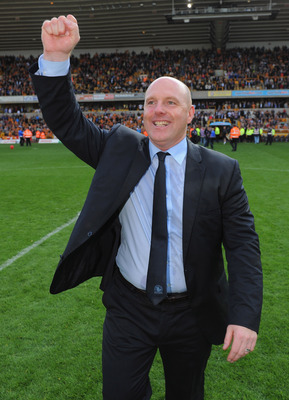 WOLVERHAMPTON, ENGLAND - MAY 22: Blackburn manager Steve Kean celebrates after the Barclays Premier League match between Wolverhampton Wanderers and Blackburn Rovers at Molineux on May 22, 2011 in Wolverhampton, England.  (Photo by Michael Regan/Getty Ima