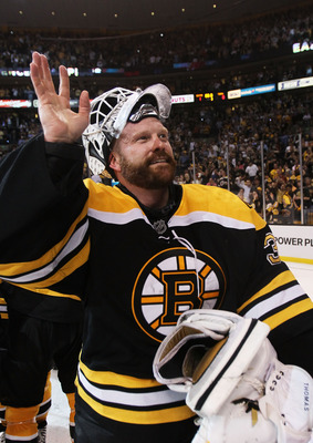 BOSTON, MA - MAY 27:  Tim Thomas #30 of the Boston Bruins celebrates after they defeated the Tampa Bay Lightning 1 to 0 in Game Seven of the Eastern Conference Finals during the 2011 NHL Stanley Cup Playoffs at TD Garden on May 27, 2011 in Boston, Massach
