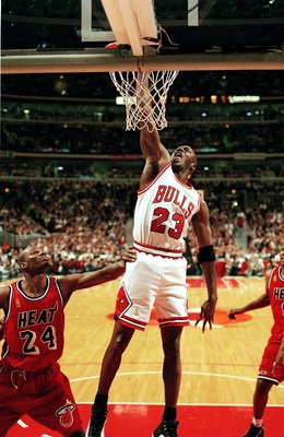 23 Jan 1998:  Michael Jordan #23 of the Chicago Bulls dunks the ball during the game against the Miami Heat at the United Center in Chicago, Illinois. The Bulls defeated the Heat 84-77.   Mandatory Credit: Jonathan Daniel  /Allsport