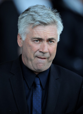 LIVERPOOL, ENGLAND - MAY 22:  Chelsea Manager Carlo Ancelotti looks on prior to the Barclays Premier League match between Everton and Chelsea at Goodison Park on May 22, 2011 in Liverpool, England.  (Photo by Chris Brunskill/Getty Images)