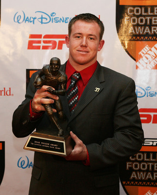 LAKE BUENA VISTA, FL - DECEMBER 10:  Running back Toby Gerhart of the Stanford Cardinal poses with the Doak Walker Award trophy during the Home Depot ESPNU College Football Awards at the Disney Boardwalk on December 10, 2009 in Lake Buena Vista, Florida.