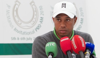 LIMERICK, IRELAND - JULY 06:  Tiger Woods speaks at a press conference at the end of his second round of The JP McManus Invitational Pro-Am event at the Adare Manor Hotel and Golf Resort on July 6, 2010 in Limerick, Ireland.  (Photo by Patrick Bolger/Gett