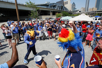 ATLANTA, GA - MAY 21:  Thrash, mascot of the Atlanta Thrashers, joins fans in the rally to help keep the team in Atlanta at Philips Arena on May 21, 2011 in Atlanta, Georgia.  It has been reported the Thrashers may relocate to Winnipeg, Canada.  (Photo by