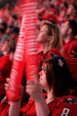 WASHINGTON, DC - APRIL 29: Fans cheer during Game One of the Eastern Conference Semifinal during the 2011 NHL Stanley Cup Finals between the Washington Capitals and the Tampa Bay Lightning at the Verizon Center on April 29, 2011 in Washington, DC.  (Photo