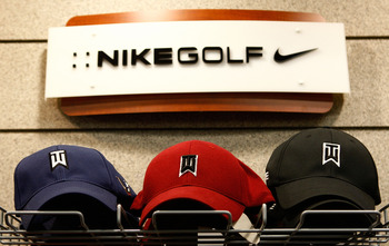 ORLANDO, FL - DECEMBER 12:  A Nike Golf display featuring Tiger Woods caps is shown at a golf shop on December 12, 2009 in Orlando, Florida. Woods announced that he will take an indefinite break from professional golf to concentrate on repairing family re