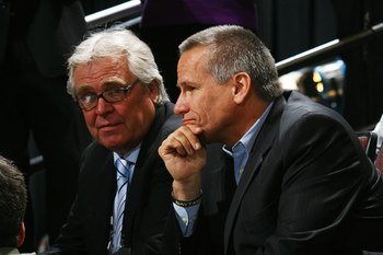 OTTAWA, ON - JUNE 21: (L-R) Glen Sather of the New York Rangers and player agent Pat Morris photographed during the 2008 NHL Entry Draft at Scotiabank Place on June 21, 2008 in Ottawa, Ontario, Canada. (Photo by Bruce Bennett/Getty Images)