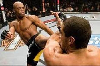 Anderson Silva landing a vicious high kick