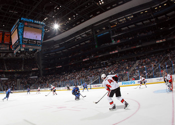 ATLANTA, GA - MARCH 27:  A general view inside Philips Arena during the game between the Atlanta Thrashers and the Ottawa Senators on March 27, 2011 in Atlanta, Georgia. The Thrashers defeated the 5-4 in the shoot out.  (Photo by Bruce Bennett/Getty Image