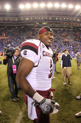 GAINESVILLE, FL - NOVEMBER 13:  Alshon Jeffery #1 of the South Carolina Gamecocks smiles after winning a game against the Florida Gators at Ben Hill Griffin Stadium on November 13, 2010 in Gainesville, Florida. The Gamecocks beat the Gators 36-14.  (Photo