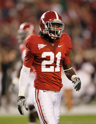 TUSCALOOSA, AL - OCTOBER 16:  Dre Kirkpatrick #21 of the Alabama Crimson Tide against the Ole Miss Rebels at Bryant-Denny Stadium on October 16, 2010 in Tuscaloosa, Alabama.  (Photo by Kevin C. Cox/Getty Images)