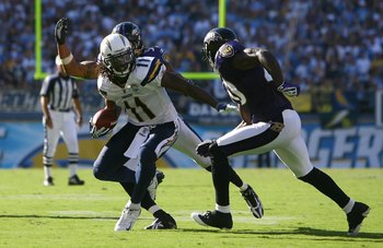SAN DIEGO - SEPTEMBER 20:  Legedu Naanee #11 of the San Diego Chargers carries the ball against the Baltimore Ravens at Qualcomm Stadium on September 20, 2009 in San Diego, California. The Ravens defeated the Chargers 31-26.  (Photo by Jeff Gross/Getty Im