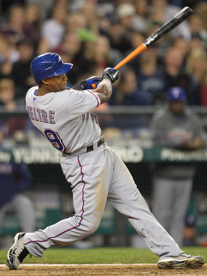 SEATTLE - MAY 04:  Adrian Beltre #29 of the Texas Rangers bats against the Seattle Mariners at Safeco Field on May 4, 2011 in Seattle, Washington. (Photo by Otto Greule Jr/Getty Images)