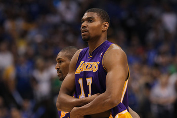 DALLAS, TX - MAY 08:  Andrew Bynum #17 of the Los Angeles Lakers is ejected from play against the Dallas Mavericks in Game Four of the Western Conference Semifinals during the 2011 NBA Playoffs on May 8, 2011 at American Airlines Center in Dallas, Texas.