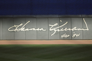 MINNEAPOLIS, MN - MAY 23: Hall of Famer Harmon Killebrew's autograph on the outfield wall of Target Field on May 23, 2011 in Minneapolis, Minnesota. Harmon Killebrew passed away on May 17, 2011 after a battle with esophageal cancer. (Photo by Hannah Fosli