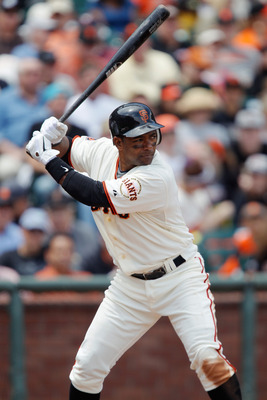 SAN FRANCISCO, CA - MAY 22:  Miguel Tejada of the San Francisco Giants bats against the Oakland A's at AT&T Park on May 22, 2011 in San Francisco, California.  The Giants won 5-4 in 11 innings.  (Photo by Brian Bahr/Getty Images)
