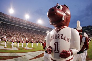 FAYETTEVILLE, AR - SEPTEMBER 02:  An inflatable mascot from the University of Arkansas Razorbacks awaits the teams entrance for a game against the University of Southern California Trojans on September 2, 2006 at Donald W. Reynolds Razorback Stadium in Fa