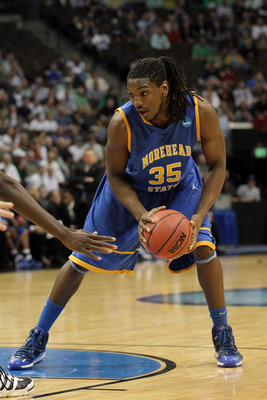 DENVER, CO - MARCH 17:  Kenneth Faried #35 of the Morehead State Eagles handles the ball during the second round of the 2011 NCAA men's basketball tournament at Pepsi Center on March 17, 2011 in Denver, Colorado.  (Photo by Justin Edmonds/Getty Images)
