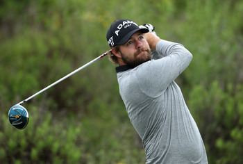 CASARES, SPAIN - MAY 20:  Ryan Moore of the USA tees off on the third hole during the group stages of the Volvo World Match Play Championships at Finca Cortesin on May 20, 2011 in Casares, Spain.  (Photo by Warren Little/Getty Images)