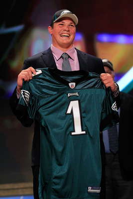 NEW YORK, NY - APRIL 28:  Danny Watkins, #22 overall pick by the Philadelphia Eagles, holds up a jersey on stage during the 2011 NFL Draft at Radio City Music Hall on April 28, 2011 in New York City.  (Photo by Chris Trotman/Getty Images)