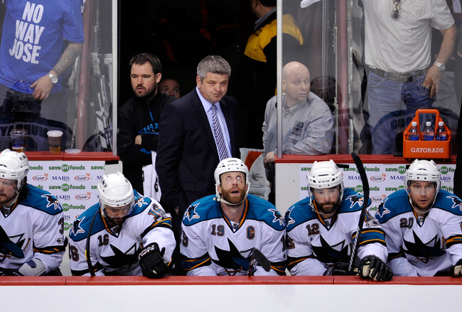 VANCOUVER, CANADA - MAY 18:  Head Coach Todd McLellan of the San Jose Sharks looks on from the bench area during Game Two of the Western Conference Finals against the Vancouver Canucks during the 2011 Stanley Cup Playoffs at Rogers Arena on May 18, 2011 i