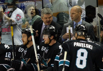 SAN JOSE, CA - MAY 20:  Head Coach Todd McLellan of the San Jose Sharks yells to players in the bench area in Game Three of the Western Conference Finals against the Vancouver Canucks during the 2011 Stanley Cup Playoffs at HP Pavilion on May 20, 2011 in